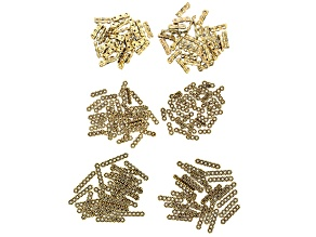 Multi Strand Spacer Bead Kit in 5 Styles in Antiqued Gold Tone Appx 200 Pieces Total w/ Storage Case