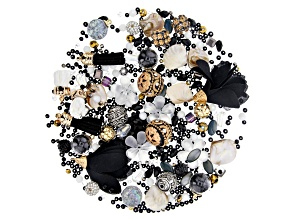 Black and White Assorted Bead Kit including Assorted Focal Beads Appx 598 Pieces Total