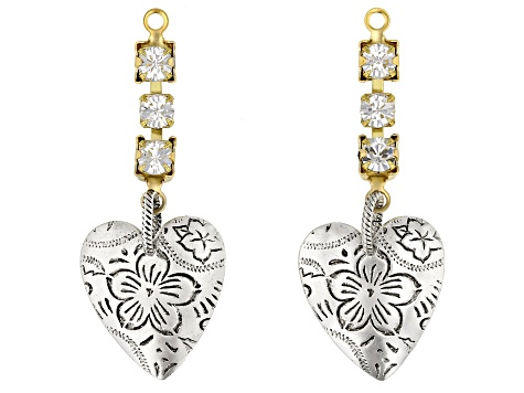 Vintaj Floral Heart Earring Component Set of 2 Designed by Candie Cooper