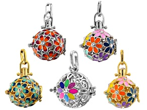 Enameled Cage Pendant Set of 5 in Silver Tone and Gold Tone with Crystal Accents