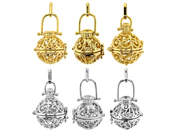 Picture of Indonesian Inspired Cage Pendant Set of 6 in 2 Designs in Silver Tone and Gold Tone