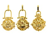 Indonesian Inspired Cage Pendant Set of 6 in 2 Designs in Silver Tone and Gold Tone