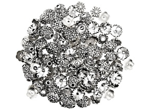 Floral Bead Cap Set in 3 Designs in Antiqued Silver Tone 150 Pieces Total