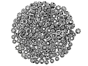 Rondelle Spacer Beads in 3 Designs in Antiqued Silver Tone 210 Pieces Total