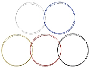 Neck Wire Set of 15 in Assorted Colors in Silver Tone Appx 18