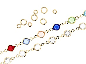 Multi Color & Colorless Crystal Beaded Chain Kit with Findings in Gold Tone