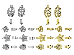 Patterned Hollow Clasp Kit in 4 Designs in Silver Tone & Gold Tone