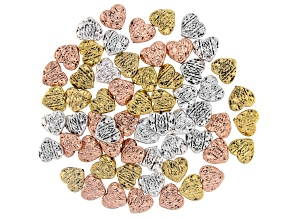 Striped Heart Spacer Bead Kit in Antiqued Silver, Gold, & Rose Gold Tone 60 Pieces Total