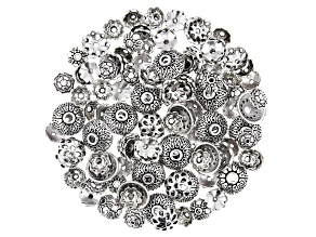 Flower Bead Cap Set in 4 Styles in Antiqued Silver Tone 140 Pieces Total