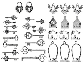 Lovebird and Key Component Kit in Antiqued Silver Tone 30 Pieces Total