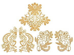 Fancy Filigree Component Set in 3 Designs in Gold Tone 5 Pieces Total