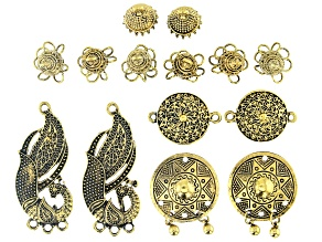 Old World Inspired Component Kit in Antiqued Gold Tone 14 Pieces Total