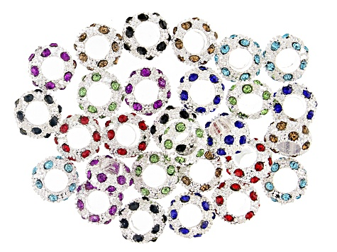 Multi Color Crystal Accent Large Hole Spacer Bead Kit in Silver Tone 28 Pieces Total