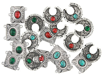Picture of Southwestern Inspired Focal & Component Kit in Antiqued Silver Tone 18 Pieces Total