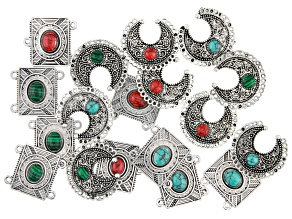 Southwestern Inspired Focal & Component Kit in Antiqued Silver Tone 18 Pieces Total