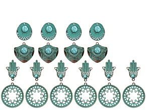 Patina Component Kit in 4 Designs in Antiqued Brass Tone with Resin Accents 20 Pieces Total