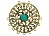 Filigree Component Kit in Antiqued Gold Tone with Emerald Color Accent Cabochon 29 Pieces Total