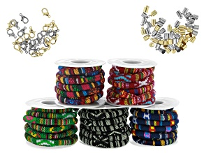 Multi Color Woven Cord Set with Findings in Silver Tone & Gold Tone