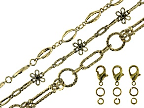 Unfinished Chain Set of 3 in Antiqued Gold Tone with Findings