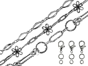 Unfinished Chain Set of 3 in Antiqued Silver Tone with Findings