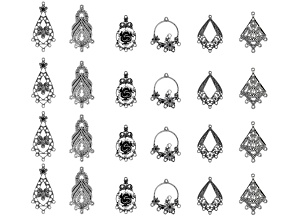 Chandelier Earring Component Set in 6 Designs in Antiqued Silver Tone 24 Pieces Total