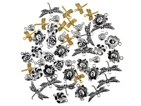 Garden Inspired Focal and Component Assortment in 5 Styles in Antiqued Silver and Gold Tone