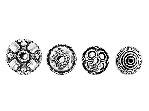 Flower Design Spacer Beads in Antiqued Silver Tone in 4 Styles 20 Pieces Total