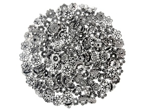 Flower Bead Caps in Antiqued Silver Tone in 4 Designs 200 Pieces Total