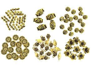 Flower Spacer & Focal Beads in 6 Styles in Antiqued Gold Tone 97 pieces total