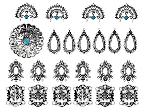 Southwestern Inspired Focal & Finding Set in 5 Styles in Antiqued Silver Tone w/Resin Accents 23pcs