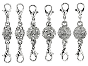 Fancy Magnetic Clasps Set of 6 in Silver Tone with Crystal Accents and Lobster Style Clasps
