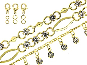 Designer Chain in 3 Styles in Gold Tone with CZ Accents Appx 27
