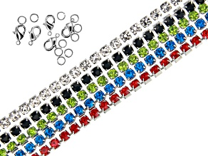 Multi Color Crystal Chain Set of 5 Appx 30