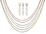 Box Chain Set of 6 in Silver, Gold, and Rose Gold Tone Appx 18