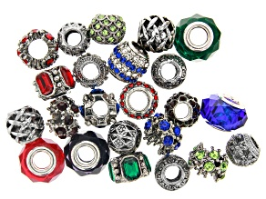 Metal and Glass Spacer Beads in Antiqued Silver Tone 23 Pieces Total
