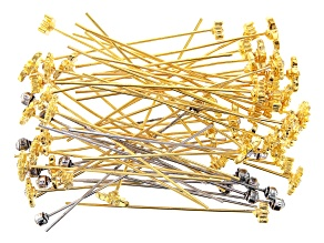 Fancy Head Pins in 4 Styles in Gold Tone & Antiqued Silver Tone 60 Pieces Total