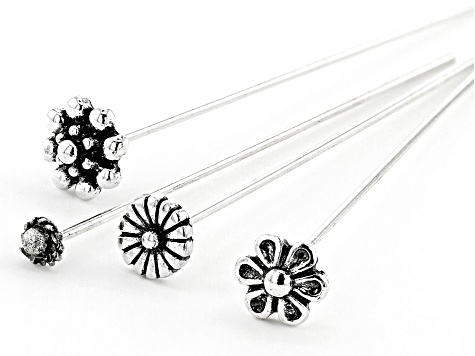 Fancy Head Pins in 4 Flower Designs in Antiqued Silver Tone 60 Pieces Total