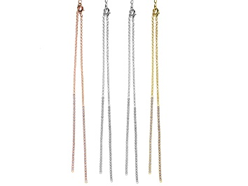 Picture of Crystal Chain Necklace Foundation Set of 4 in Silver Tone, Gold Tone, and Rose Tone Appx 18""