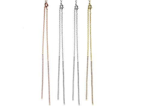 Crystal Chain Necklace Foundation Set of 4 in Silver Tone, Gold Tone, and Rose Tone Appx 18