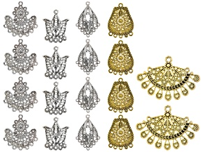 Turkish Inspired Filigree Focal and Chandelier Component Kit in 5 Designs 18 Pieces Total