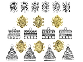 Turkish Inspired Bracelet Connectors in 4 Designs in Antiqued Silver and Gold Tones 20 Pieces Total