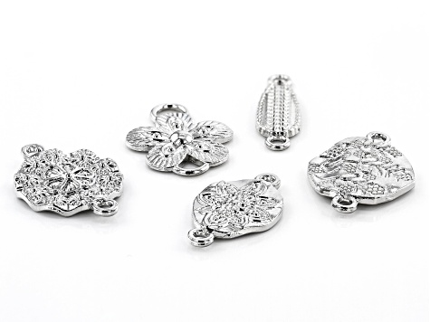 Turkish Inspired Connector Kit in 5 Styles in Silver Tone 35 Pieces Total