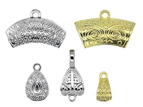 Turkish Inspired Bail Kit in 5 Designs in Silver Tone and Gold Tone 30 Pieces Total