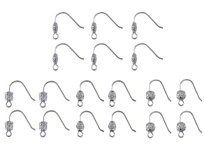 Indonesian Inspired Shepherd's Hook Ear Wire Set in 4 Designs in Silver Tone 9 Pairs Total