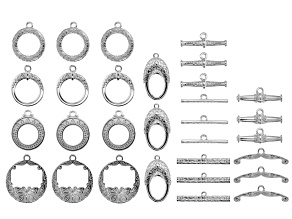 Indonesian Inspired Toggle Clasp Set of 15 in 5 Designs in Silver Tone