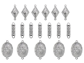 Indonesian Inspired Connectors Set in 3 Designs in Silver Tone 21 Pieces Total