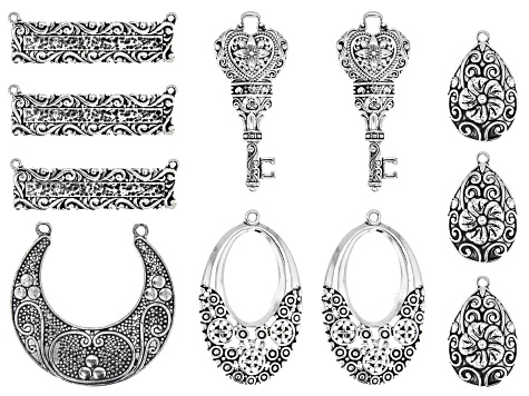 Indonesian Inspired Focal Set in 5 Designs in Antiqued Silver Tone 11 Pieces Total