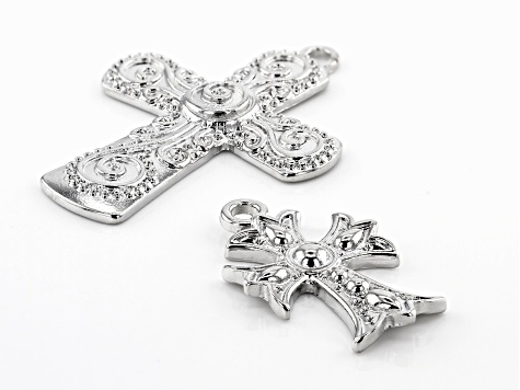 Indonesian Inspired Cross Focal Set in 3 Designs in Silver Tone 17 Pieces Total