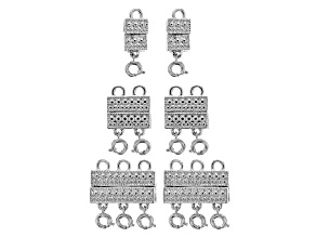 Indonesian Inspired Multi-Strand Magnetic Clasp Set in 3 Designs in Silver Tone 6 Pieces Total