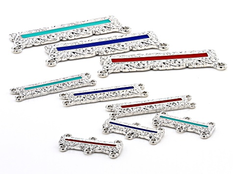 Indonesian Inspired Enamel Bar Pendant and Connector Kit in 3 Designs in Silver Tone 28 Pieces Total
